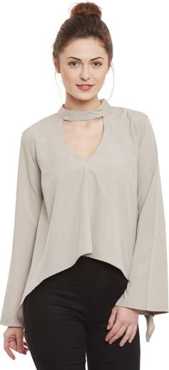 Popnetic Casual Full Sleeve Solid Women Beige Top