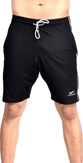TOM BURGSolid Men Black Basic Shorts