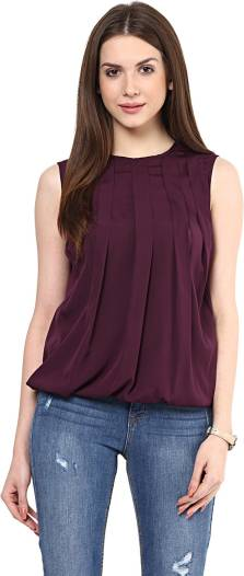 Rare Casual Sleeveless Solid Women Maroon Top