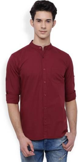 HIGHLANDERMen Slim Fit Solid Mandarin Collar Casual Shirt