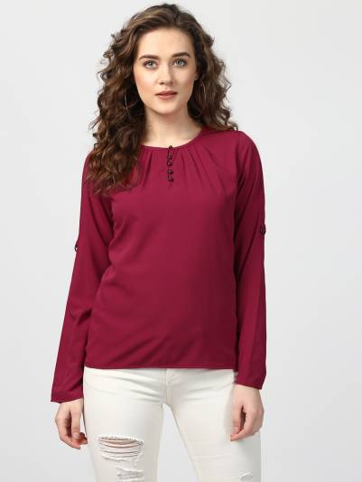 Casual Bell Sleeve Solid Women Maroon Top