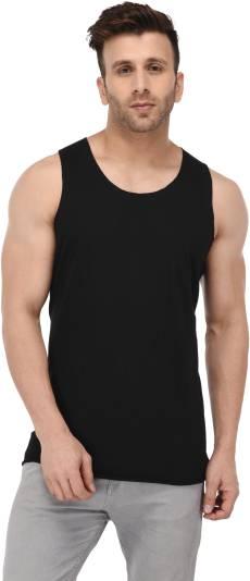 Kay DeeSolid Men Scoop Neck Black T Shirt