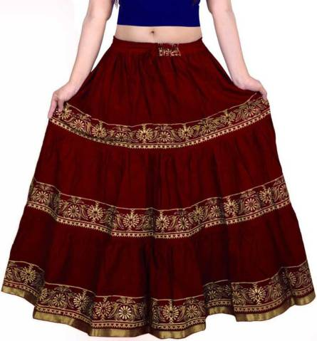 Women Printed Regular Maroon Skirt