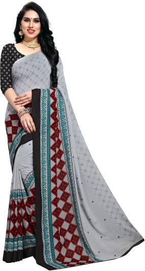 Anand Printed Daily Wear Georgette Saree   Grey
