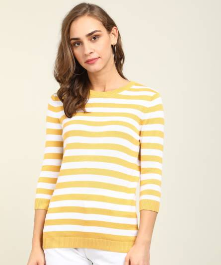 LEVI'SCasual Regular Sleeves Striped Women Yellow, White Top