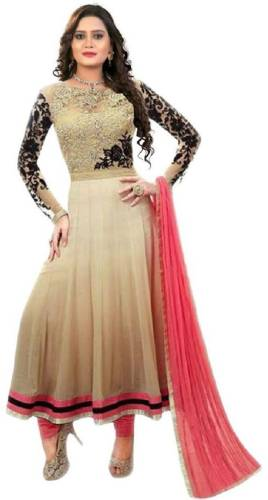 76a33d51774 siddeshwary fab Georgette Embroidered Semi-stitched Salwar Suit Dupatta  Material Price in India