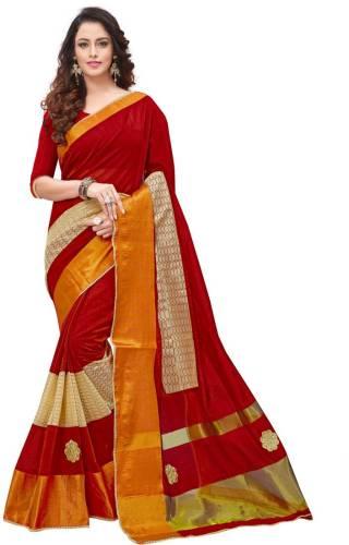 aaf58702aec455 BAPS Self Design, Embroidered Bollywood Silk Cotton Blend Saree (Multicolor)
