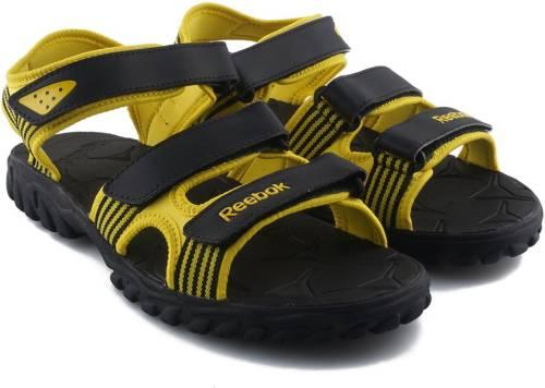 7965c043f51a Reebok Men BLACK YELLOW Sports Sandals