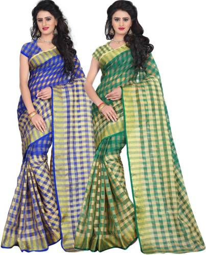 212a0683b02705 Cozee Shopping Checkered Bollywood Cotton Sari (Pack of 2