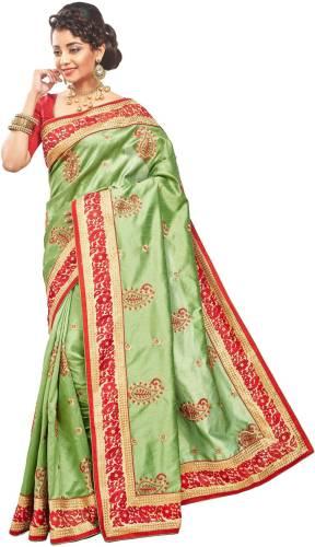 5a3e8e168ea RB Sarees Embroidered Fashion Raw Silk Sari (Green