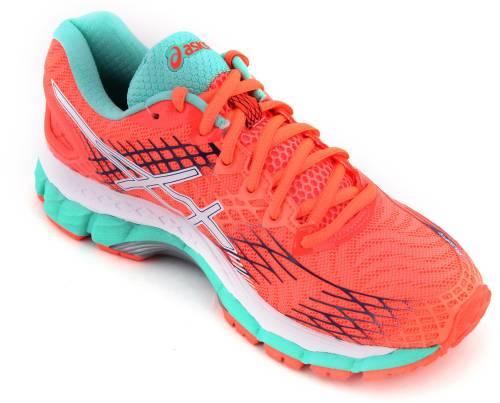 Asics Gel Nimbus 17 Women Running Shoes (Orange, White, Blue