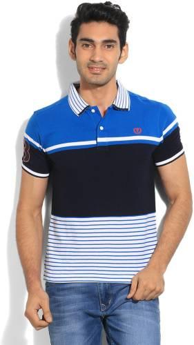 96edba4d6 Van Heusen Sport Striped Men's Polo Neck Black, Blue T-Shirt Price in India    Buy Van Heusen Sport Striped Men's Polo Neck Black, Blue T-Shirt Online  ...