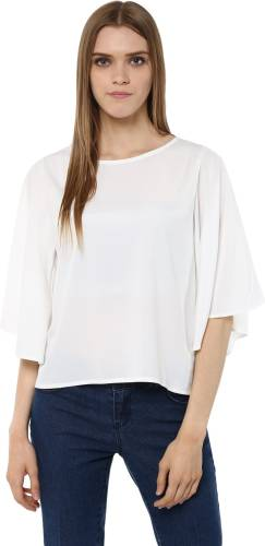 3da14a7b395 Harpa Casual Petal sleeve Solid Women s White Top