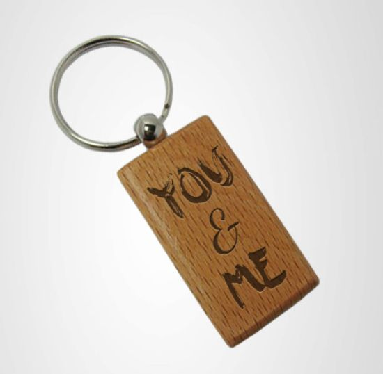 Tied Ribbons Wooden Engraved Gifts For Birthday Key Chain (Brown)