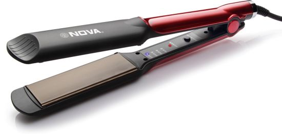 Nova Temperature Control Professional NHS 870 Hair Straightener (Black/Red)