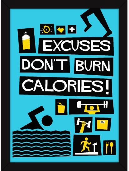 Fitness Posters |Gym Poster Framed For Motivation Blue Wall Decor  Theme|Excuses Don't Burn Calories Photographic Paper