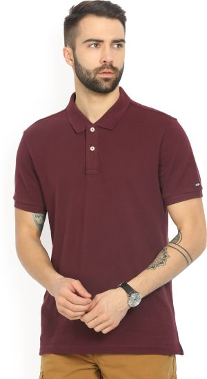 Arrow Sport Solid Men's Polo Neck Red T-Shirt