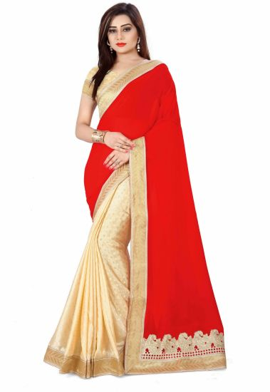 Sonu Creation Embroidered Bollywood Georgette, Silk Saree (Multicolor)
