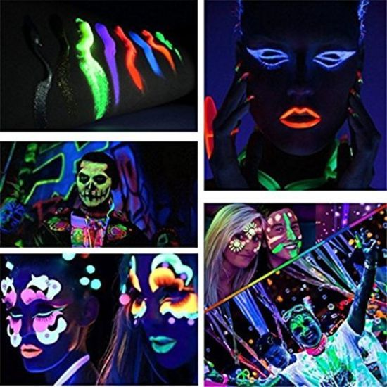 Superb Smartcraft Face Colour Paint Pack Of 6 Uv Blacklight Reactive Glow In Dark Face And Body Paint Set Of 6 Tubes Neon Fluorescent 25 Ml Each Tube Home Remodeling Inspirations Genioncuboardxyz