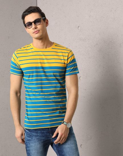 Metronaut Striped Men's Round Neck Yellow, Blue T-Shirt