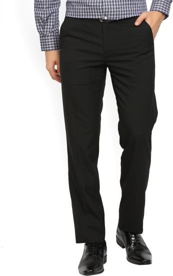Peter England Slim Fit Mens Black Trousers