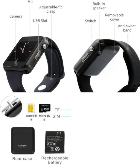 MECKWELL Square Dial Wrist Smart Band/Watch- Bluetooth with