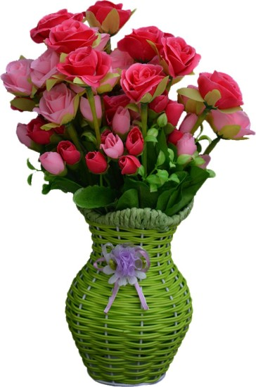 276 & SKY TRENDS Artificial Flowers with Flower Pot | Flower vase for Home Decoration | Flower Pot with Artificial Flowers-052 Plastic Vase