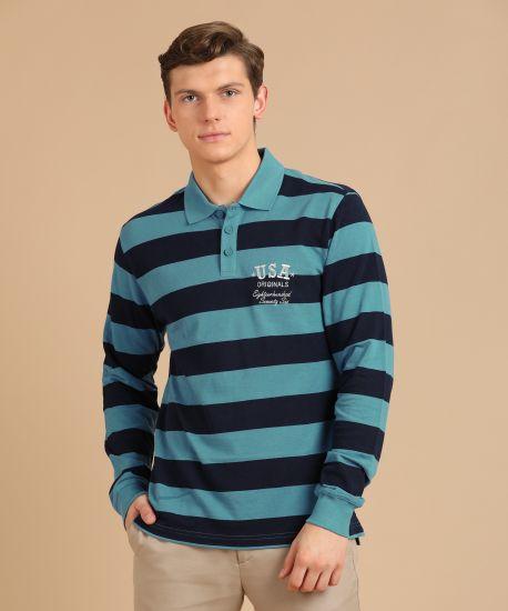 fed926f0 Jockey Striped Men's Polo Neck Blue T-Shirt - Buy Parisian Blue/Navy ...