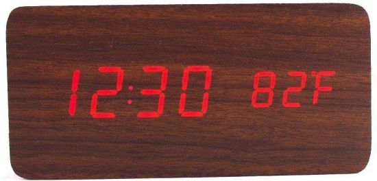 kraftmasters Digital Wooden Digital Electronic Alarm Table Desk Clock with  Temperature + Date + Time Display  (Brown, Rectangle) Clock