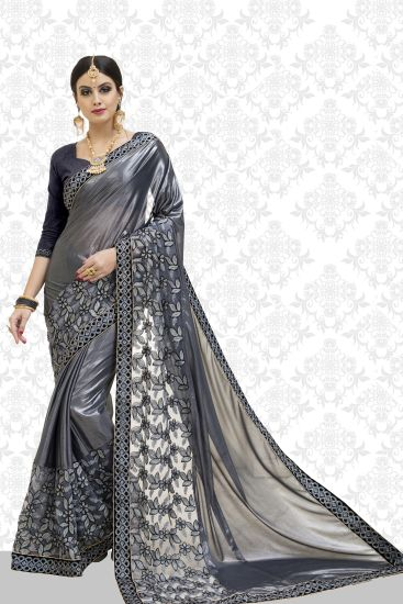 98b4249832f2c3 1234. 1234. 1234. 1234. 1234. Divastri Embroidered Bollywood Poly Silk, Cotton  Blend Saree(Grey)