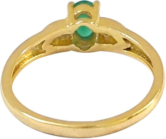 R S Jewels Engagement Gold Plated Emerald Gemstone Cz Alloy Cubic Zirconia  Ring