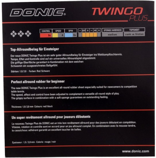 Red Donic Twingo Table Tennis Rubber