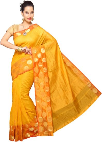 Pavechas Solid Banarasi Silk Cotton Blend Saree  (Yellow)