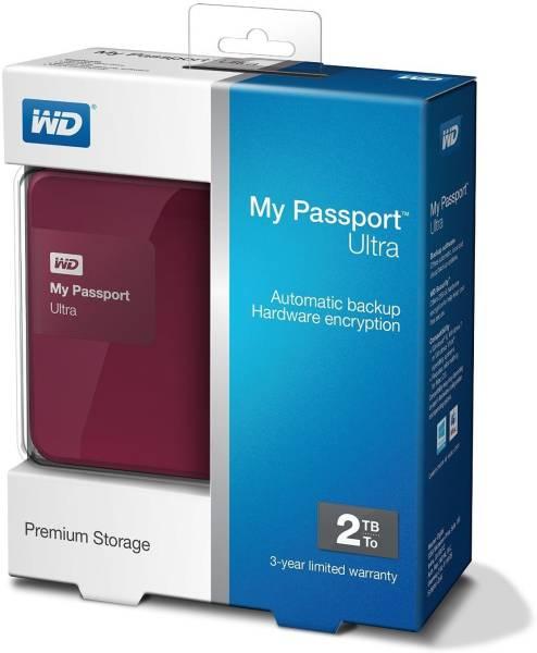 WD My Passport Ultra 2TB External Hard Disk (Red)
