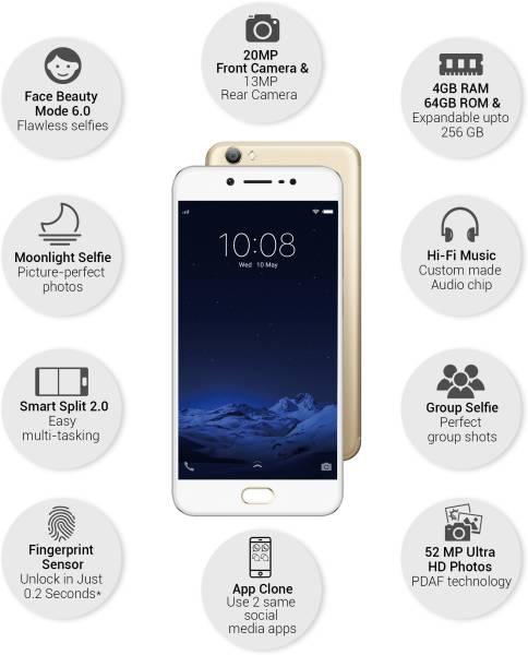Vivo V5s (Crown Gold, 4GB RAM, 64GB)