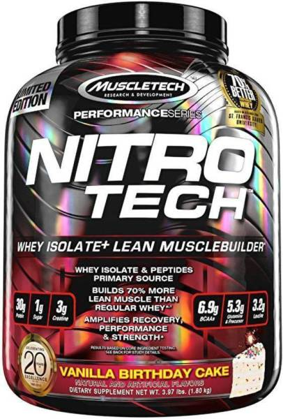 MuscleTech Nitro Tech Whey Isolate Plus Dietary Supplements Vanilla Birthday Cake 180KG