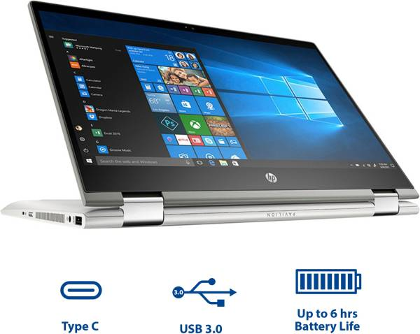 HP Pavilion X360 14-CD0077TU Laptop (Windows 10, 4GB RAM, 1000GB HDD, Intel Core i3, Silver, 14.0 Inch)