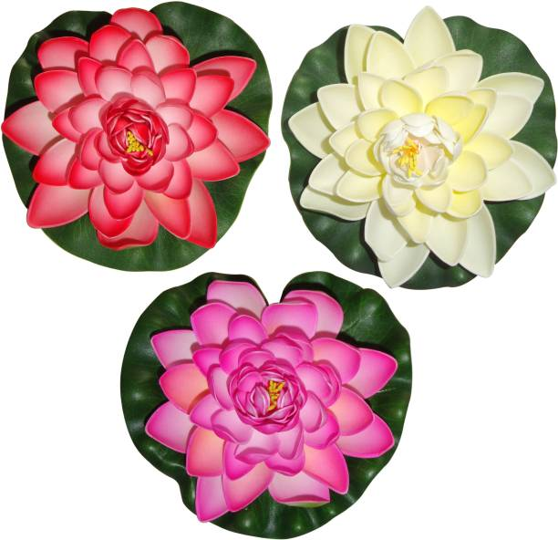 Artificial flowers buy artificial flowers online at best prices in muhil floating lotus large red white pink assorted artificial flower mightylinksfo