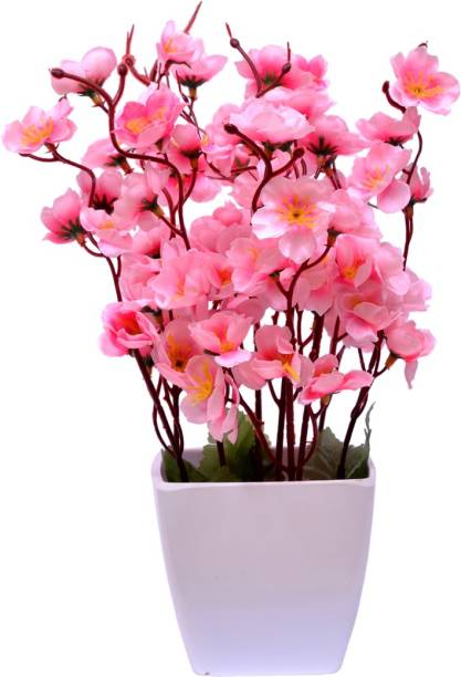 Yash Enterprises Small pink cherry blossom Bonsai Artificial Plant with Pot