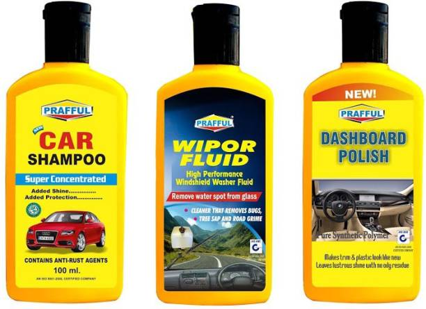 PRAFFUL 1 DASHBOARD POLISH, 1 WIPER FLUID, 1 CAR SHAMPOO Combo