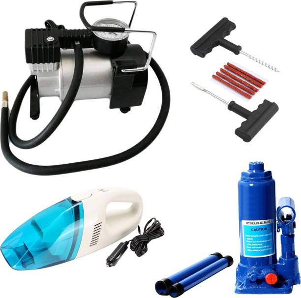 Gold Dust 1Car Air Compressor Pump, 1Hydraulic Jack, 1Vacuum Cleaner ,1Car Puncture Kit Combo