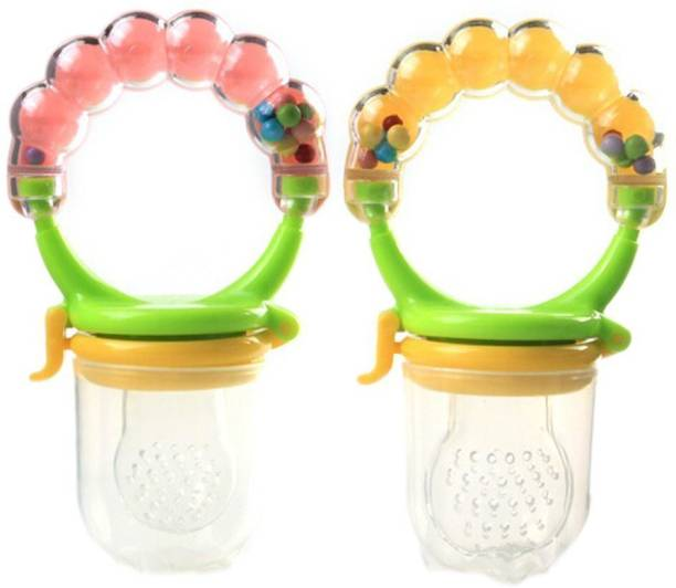 Baby Bucket Baby Nipple Fresh Fruit Vegetables Food Nibbler Feeder Feeding Tool Safe for 4 Month Baby Random color Rattle