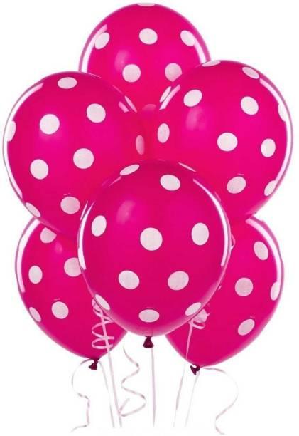"Shatchi Printed 12"" Berry Pink Snowflake & Sparkles Latex Balloons Kids Birthday Party - 5Pcs Balloon"