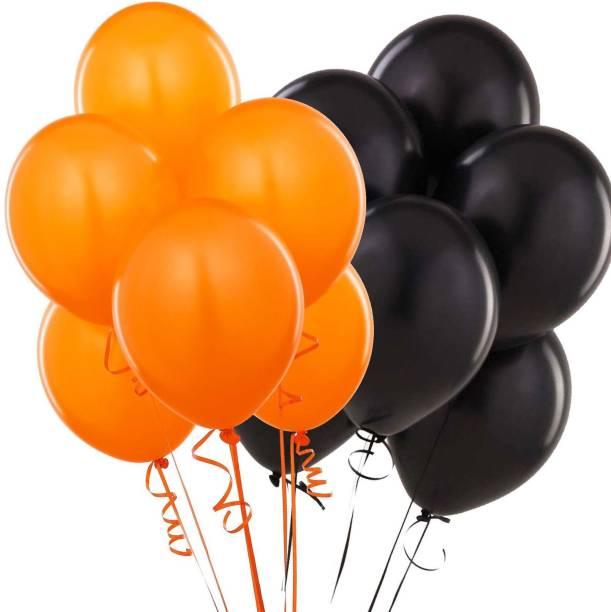 Shatchi Solid Pack Of 15 Black & Orange Latex Balloons For,Valentine,Anniversary,Wedding,Celebration Balloon