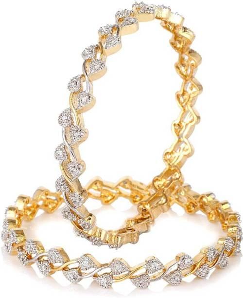 602b63ea6d2 Jewels Guru Brass, Silver Cubic Zirconia Gold-plated, Rhodium Bangle Set