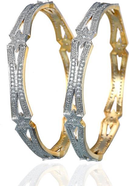 6169c15e0f6 Alysa Brass, Copper, Silver Cubic Zirconia Gold-plated, Rhodium Bangle Set