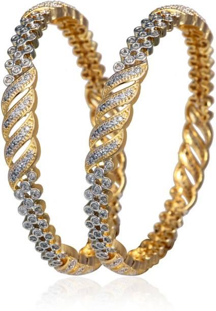3454f44d1b0 Alysa Alloy, Silver Cubic Zirconia Gold-plated, Rhodium Bangle Set