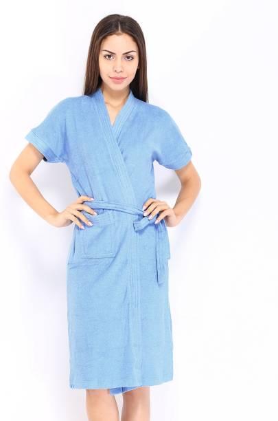 FeelBlue Sky Blue Free Size Bath Robe
