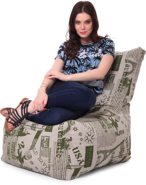 STYLE HOMEZ XXL Cotton Canvas Abstract Printed Bean Bag Chair  With Bean Filling