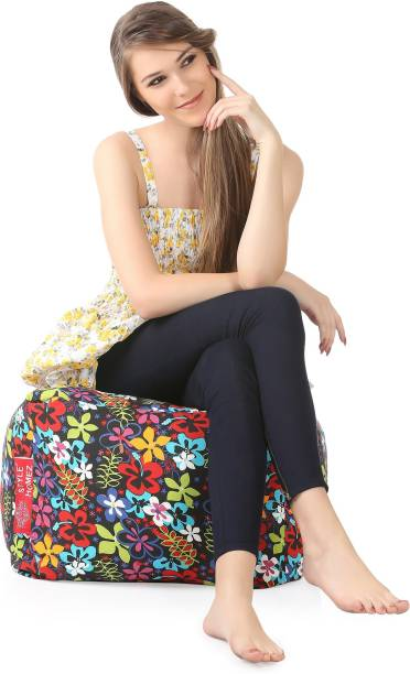 STYLE HOMEZ Large Square Cotton Canvas Floral Printed Ottoman Bean Bag Footstool  With Bean Filling